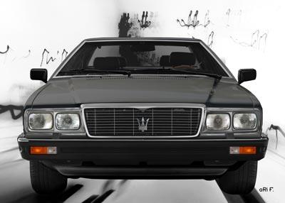 Maserati Quattroporte III front view Poster in black & white