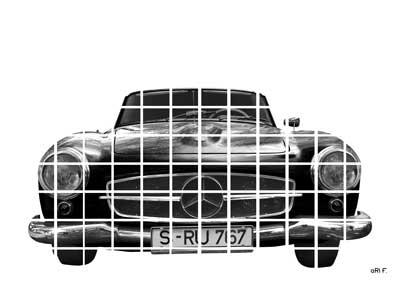 Mercedes-Benz 190 SL Poster in black quadrats
