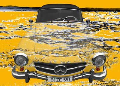 Mercedes-Benz 190 SL Art Car Poster in mixed yelllow
