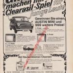 Clearasil und Mini Cooper im Gewinnspiel Reklame ca. 1967