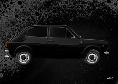 Fiat 127 side view Poster in black