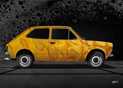 Fiat 127 Art Car Poster in yellow created by aRi F.
