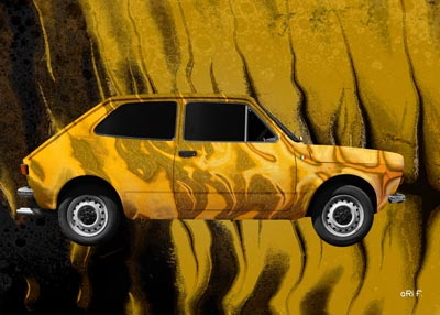 Fiat 127 Art Car Poster in yellow mixed created by aRi F.