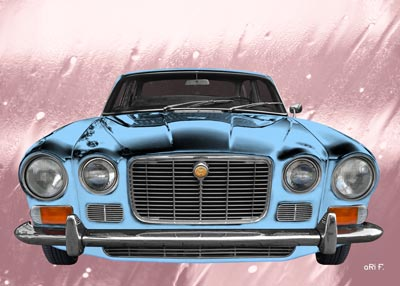 Jaguar XJ S1 in blue & pink Poster