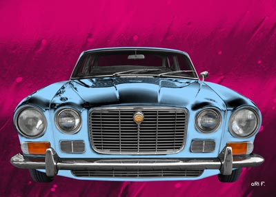 Jaguar XJ6 in light blue & pink Poster