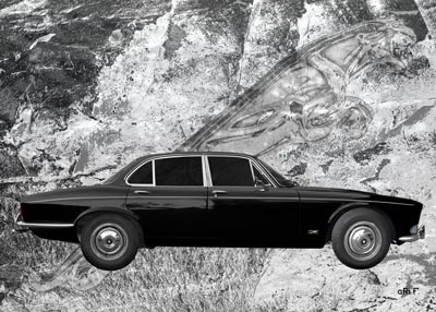 Jaguar XJ Serie 1 sideview Poster in black & white