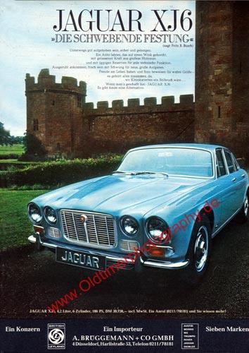 """Jaguar XJ6 """"Die schwebende Festung"""" Reklame in Auto Motor & Sport Ausgabe 9/1972"""