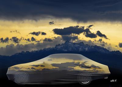 Autodecke mit schweizer Bergen und Säntis
