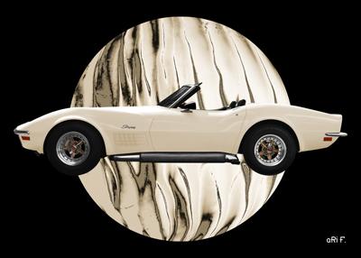 Poster Chevrolet Corvette C3 in beige colors