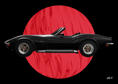 Chevrolet Corvette C3 Poster in black & red color