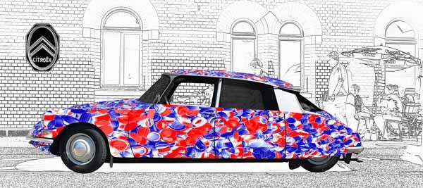 Citroen ID 19 Art Car Poster bleu blanc rouge