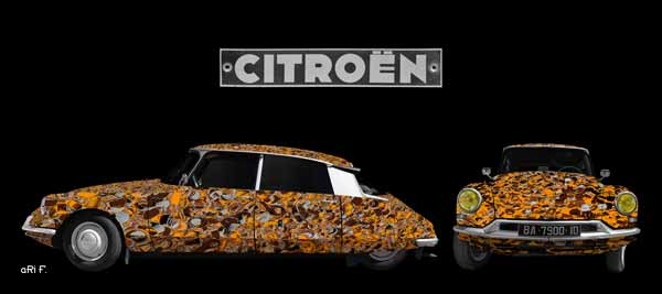 Citroen ID 19 ART Car Poster in Doppelansicht braunfarben
