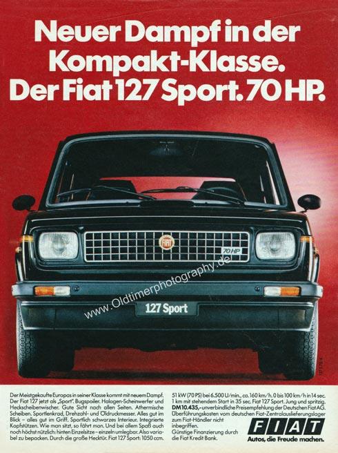 Fiat 127 Sport. Neuer Dampf in der Kompakt-Klasse. Annonce in MOTORRAD 18/1978