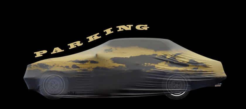 Oldtimer Parking mit Art Car-Persenning