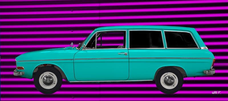 Poster Audi F103 in cyan & lila