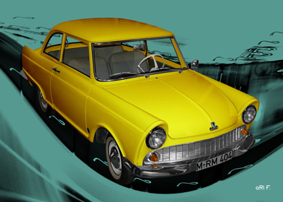 DKW Junior Poster in yellow & cyan