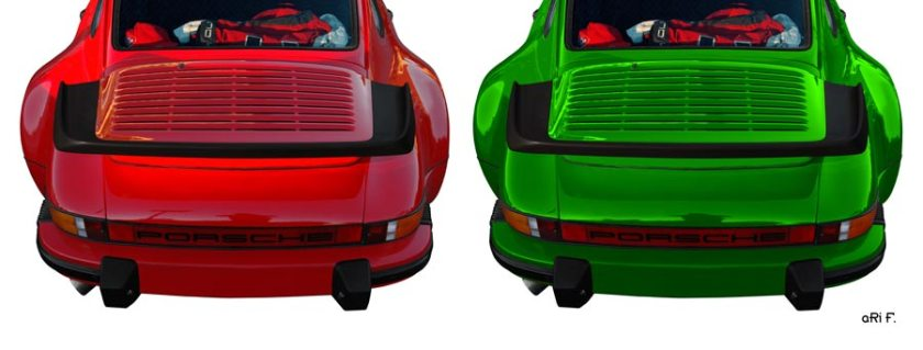 Porsche 911 G-Modell Poster in red & green