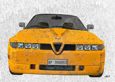 Alfa Romeo E 30 Art Car Poster in yellow