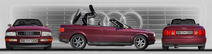 Audi 80 Cabriolet Poster in 3 Ansichten und Originalfarbe