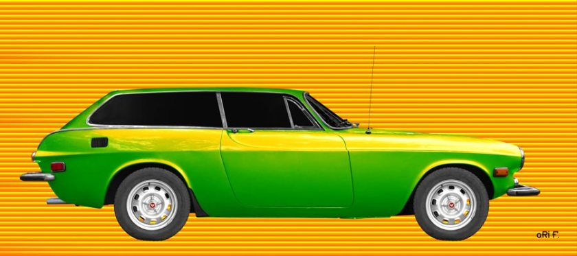 Volvo P1800 ES Poster in green-yellow mixed