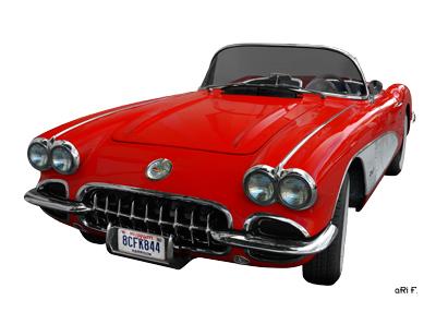 Corvette C1 Poster in original red