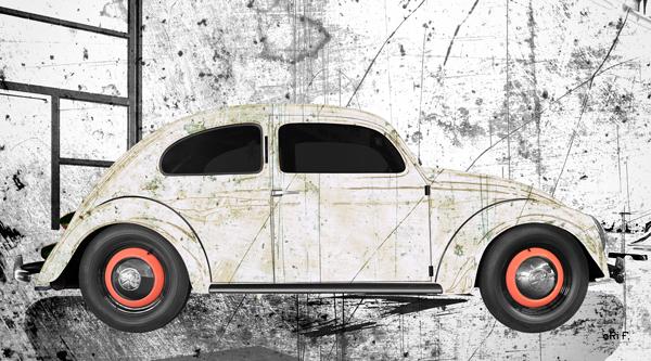 VW Ur-Käfer Poster in graphit
