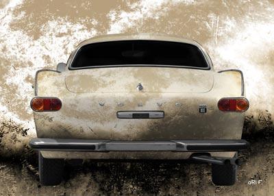 Volvo P1800E in antique patina rear view