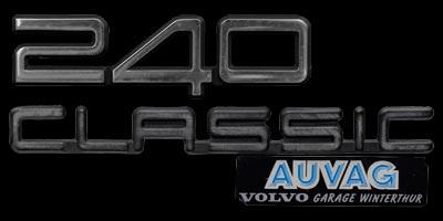 Logo Volvo 240 Classic mit Aufkleber AUVAG VOLVO GARAGE WINTERTHUR
