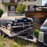 Studebaker Champion auf dem Autotrailer geht's Richtung Deutschland