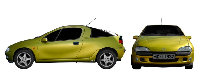 Opel Tigra Poster double view in Originalfarbe