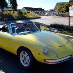 Alfa Romeo Spider in gelb bei einer Stadtrallye in Meßkirch