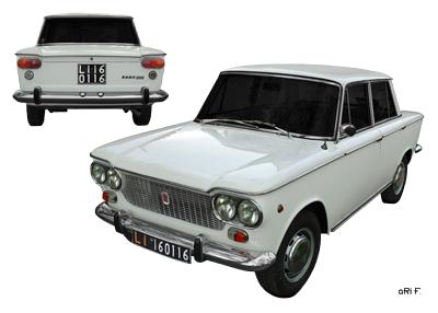 Fiat 1500 Poster in Doppelansicht (1961-1968) Originalfarbe