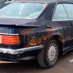Mercedes-Benz C126 500 SEC AMG V8 Wide-Body Seitenansicht auf Kotflügelverbreiterung am Heck
