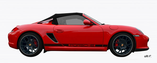 Porsche Boxster Spyder Typ 987 Poster in Originalfarbe