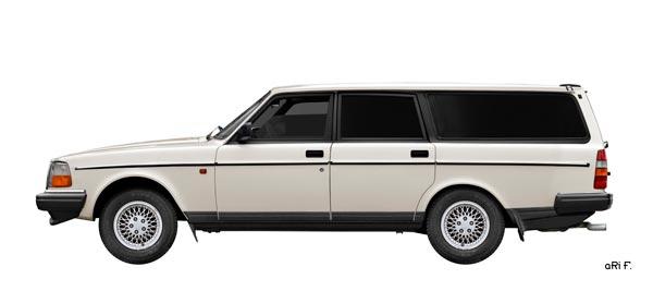 Volvo 245 Kombi Poster in white