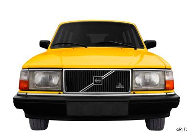 Volvo 245 in gelb Poster Frontansicht