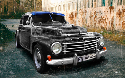 Volvo PV444 Poster in 50s antique