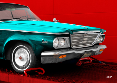1964 Chrysler Newport Poster in cyan
