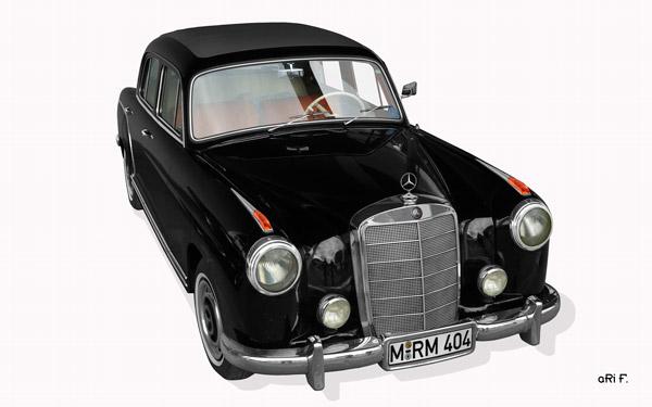 Mercedes-Benz W 128 220 SE Poster in schwarz