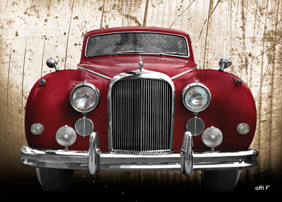 Jaguar Mark IX Poster in red antique