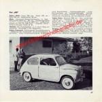 Original Fiat 600 Datenblatt - Fiat Werbung aus Auto Modelle Katalog von 1959