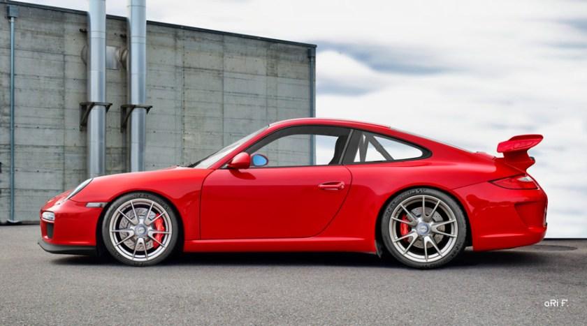Porsche 911 GT3 Typ 997 Poster in original indian-red