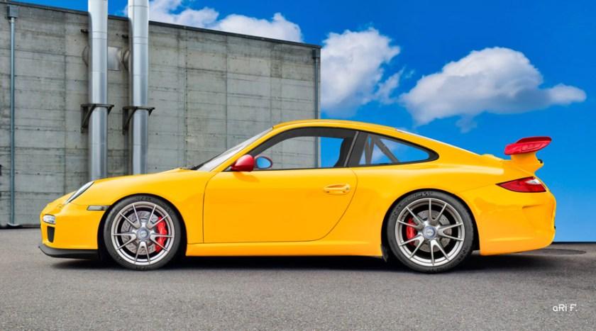 Porsche 911 GT3 Typ 997 Poster in original yellow