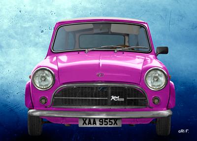 Innocenti Mini Minor 850 Poster in pink