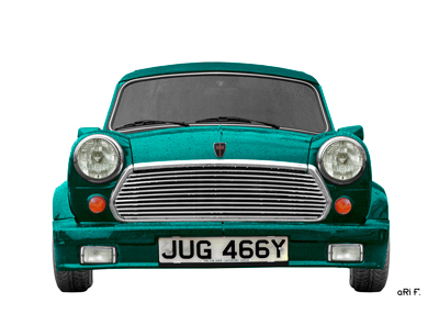 Mini Cabriolet 1275cc Poster in cyan