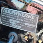 Adler Trumpf Junior 1E- Limousine Typenschild