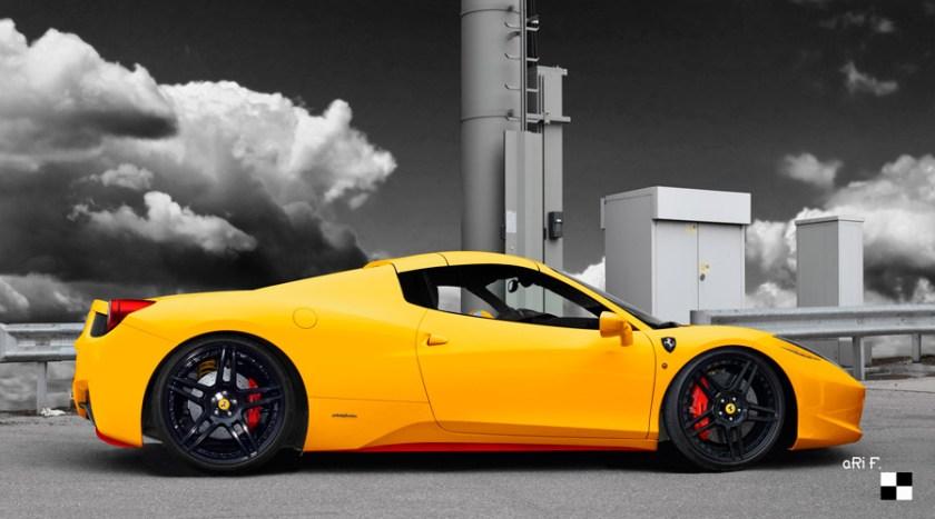Ferrari 458 Spider Poster in yellow
