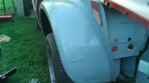 TR7 wing paint prep 2