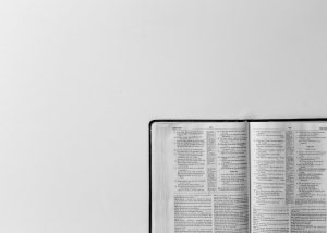 Bible on a gray table