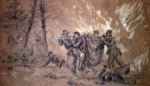 Saving the Wounded from Fire at Wilderness, Sketch by Alfred R. Waugh